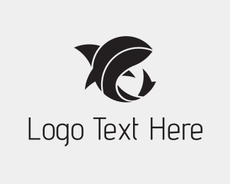 Shark - Black Abstract Shark logo design