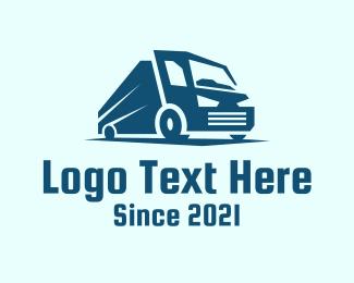 Trailer Truck - Blue Dump Truck Vehicle logo design