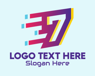 Typography - Modern Tech Number 7 logo design