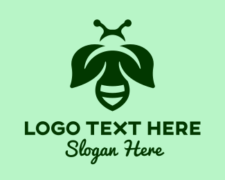 Wasp - Green Leaf Wasp Insect logo design