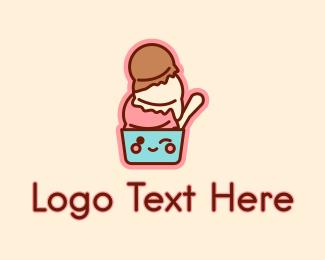 Ice - Ice Cream Sundae Mascot logo design