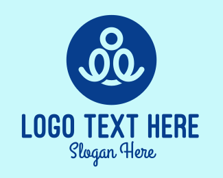 Scribble - Blue Person Scribble  logo design