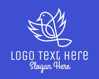 Goldcrest - White Hummingbird  logo design