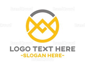 Tagline - Abstract M Emblem logo design