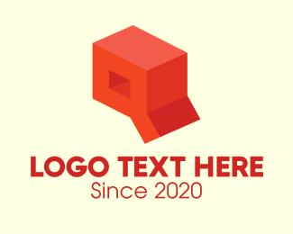 Crate - Red 3D Box Letter Q logo design
