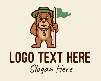 Explore - Bear Scout Camper  logo design