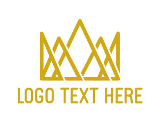Queen - Gold Geometric Crown logo design