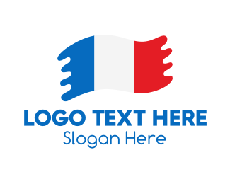 Waving - Modern French Flag  logo design