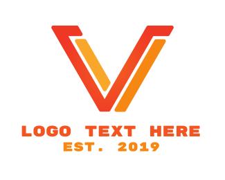 Alphabet - Red Yellow Modern V logo design