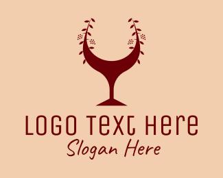 Lounge Bar - Red Wine Glass Bar logo design