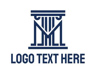 Court - Abstract Pillar M logo design