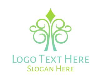 Green Diamond - Curly Diamond Tree logo design