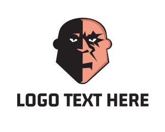 Superhero - Bald Villain logo design