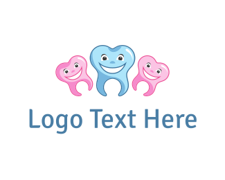 Blue And Pink - Happy Teeth logo design