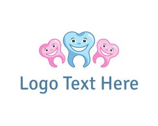 Blue And Pink - Happy Teeth logo design