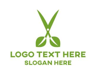 Cut - Leaf Scissors logo design