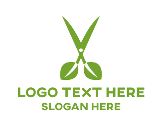 Cut - Leaf Scissors logo design