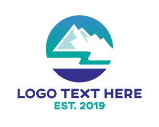Ice - Blue Ice Mountain logo design