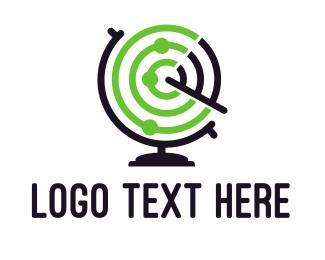 Information Technology - Radar Globe logo design