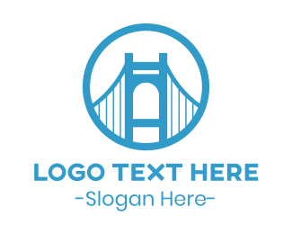 California - Circle Blue Bridge logo design