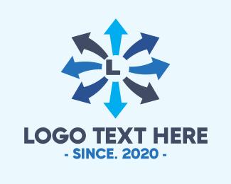 Transfer - Blue Finance Arrow Letter logo design