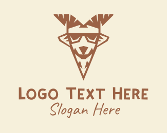 Brown Cool Goat  Logo