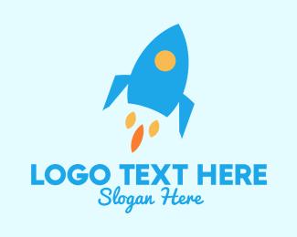 Rocket Ship - Blue Rocket Ship logo design