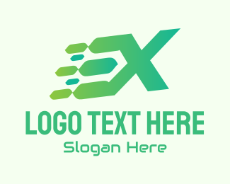 Typography - Green Speed Motion Letter X logo design