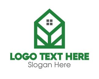 Hut - Geometric Leaf House logo design