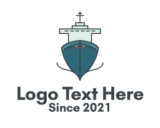 Blue Ferry Ship Logo