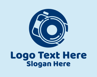 Photo Studio - Blue Photo Camera Lens  logo design