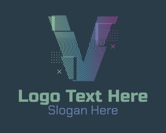 V - Modern Glitch Letter V logo design