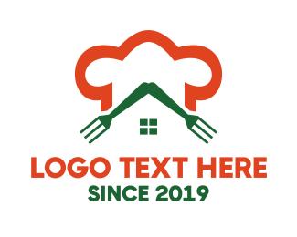 Italian Restaurant - Orange Chef Restaurant Fork House logo design