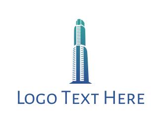 Perspective - Gradient Blue Building logo design