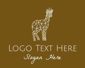 Doe - White Geometric Deer  logo design
