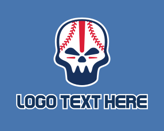 Softball Tournament - Baseball Skull Mascot  logo design