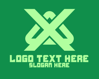 Technical - Green Letter X Triangle logo design