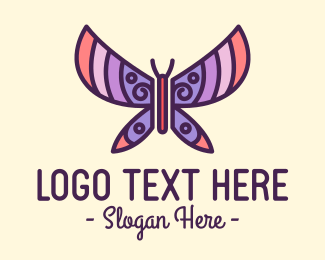 Pastel Beautiful Butterfly Logo Maker