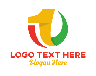 One - Colorful Curvy Number 1 logo design