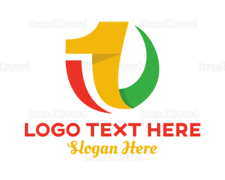 Alteration - Colorful Curvy Number 1 logo design