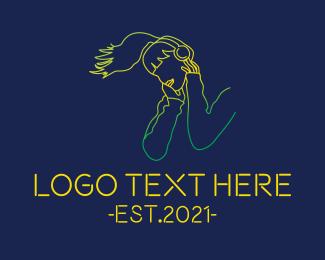 Listen - Woman Music Headphones logo design