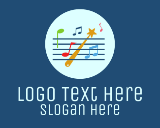 Music Lessons - Musical Staff Notes logo design