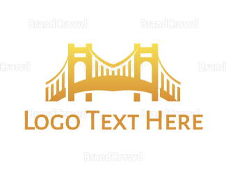 Cologne - Gradient Golden Bridge logo design