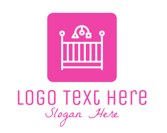 Child Care - Pink Baby Crib logo design