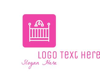 Baby - Pink Baby Crib logo design