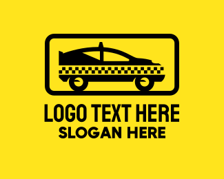 Taxi Service - Black Checkerboard Taxi logo design