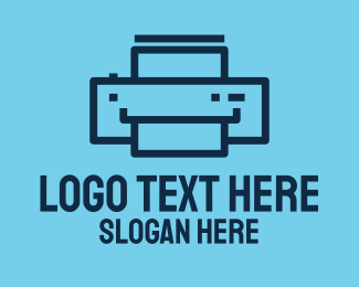 Electronics Shop - Simple Blue Printer logo design