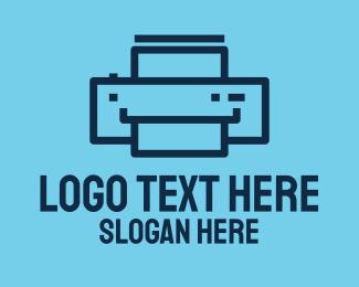 Digital Printing - Simple Blue Printer logo design