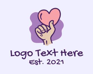 Valentine - Valentine Heart Hand  logo design