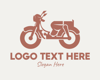Riding - Brown Retro Scooter logo design
